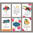 set summer hand drawn floral vintage cards vector image vector image