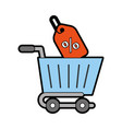 Shopping cart with percent tag vector image