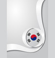 south korean flag wavy background vector image