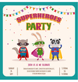 superhero card invitation with group cute vector image