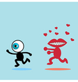 The blue eye runaway The red mouth vector image vector image