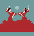 typical spanish dance moon in the background vector image vector image