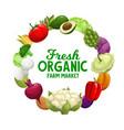 vegetables frame banner veggies food farm market vector image vector image