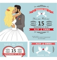 Wedding invitation setKissing Cartoon bride and vector image vector image