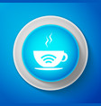 white cup of coffee shop with free wifi zone icon vector image vector image