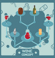 wine color isometric concept icons vector image vector image