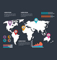 world planet with business infographic template vector image vector image