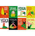 yoga cards set vector image vector image