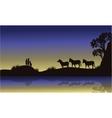 Zebra and meerkat at night scenery vector image vector image