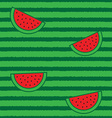 Watermelon half slices and peel seamless pattern vector image