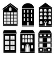set of black and white building vector image