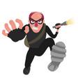 a balding thief in a mask runs with a flashlight vector image