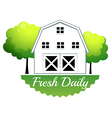 A fresh daily label with a barn vector image