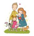 a happy family cute cartoon dad mom daughter vector image