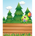 A one-eyed monster above the empty wooden vector image vector image