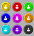 avatar Icon sign symbol on nine round colourful vector image