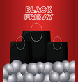 black friday label with bags shopping and balloons vector image vector image