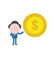 businessman character holding dollar money coin vector image vector image