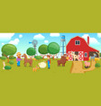 cartoon animals on farm banner vector image vector image