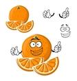 Cartoon happy orange fruit with slices vector image vector image