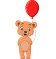 cartoon little bear holding a red balloon vector image