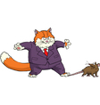 cat caught mouse vector image