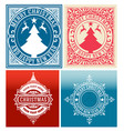 christmas cards set with vintage ornaments vector image
