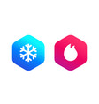 cold and hot icons vector image