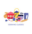 composition utensil and kitchen tools with text vector image