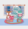 cute santa helper with pine tree in the house vector image