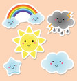 cute weather and sky elements kawaii sun rainbow vector image vector image