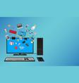 desktop computer online shopping vector image vector image