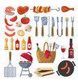 different special tools and food for barbecue vector image vector image