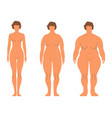 fat european women cartoon style human front side vector image vector image