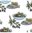 fish and greek salad olive branch seamless pattern vector image vector image