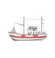 fishing boat side view icon vector image vector image