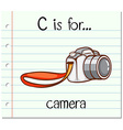 Flashcard alphabet C is for camera vector image vector image
