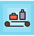flat check luggage for airport icon vector image