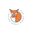 fox logo rounded linear icon on white vector image