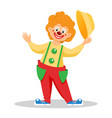funny cartoon clown with hat vector image vector image