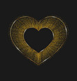 Golden shiny heart isolated on a black background