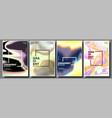 gradient fluid poster set aurora light vector image