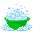 green basin with soap suds vector image