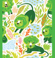green lions - broccoli in the jungle seamless vector image