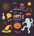 halloween design elements collection vector image