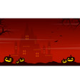 halloween on red background with castle vector image vector image