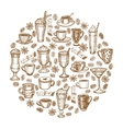 hand drawn coffee beverages template vector image vector image