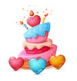 happy birthday heart cake vector image