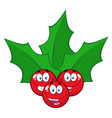 happy christmas holly berries vector image