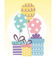 happy day gift boxes and balloons celebration vector image
